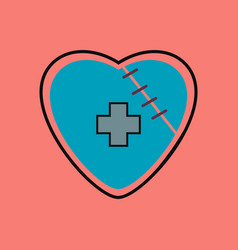 Flat icon design collection sewn heart with a vector