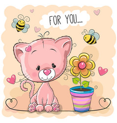 Greeting card cute cartoon kitten with flower vector