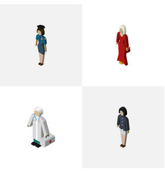 Isometric person set of female medic girl and vector
