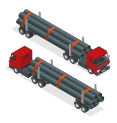 Isometric truck tractor with flatbed trailer vector