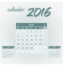 June 2016 vector image