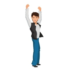 Man with raised arms icon vector