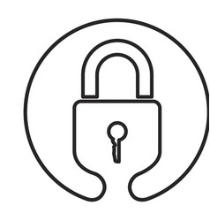 monochrome circular emblem silhouette of padlock vector image vector image
