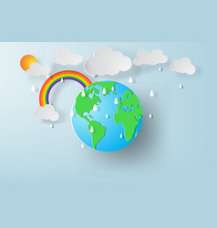 paper art of world environment day with rainy vector image vector image