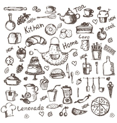 Set of hand drawing kitchen and food icons vector