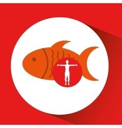 Silhouette man fish food design vector