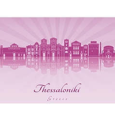 Thessaloniki skyline in purple radiant orchid vector image