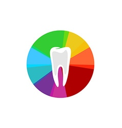 Tooth with rainbow colorful sectors sign vector image