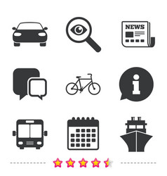 Transport icons car bicycle bus and ship vector