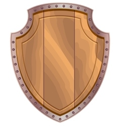 Wooden shield with steel edging vector image