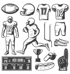 American Football Monochrome Elements Set vector image