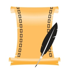 ancient scroll with a feather vector image
