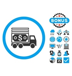 Cash lorry flat icon with bonus vector