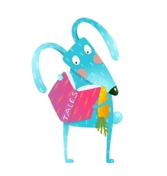 Cartoon blue bunny reading book eating carrot vector
