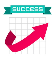 Success arrow on graph and retro ribbon vector