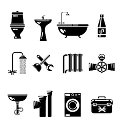 Plumbing icons Water pipe and shower toilet sink vector image
