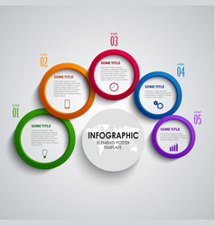 Info graphic with abstract colored round indicator vector