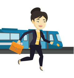 Businesswoman at train station vector