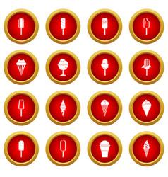 Ice cream icon red circle set vector