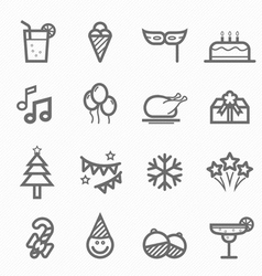 Party symbol line icon set vector