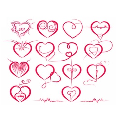 Set of symbol hearts vector