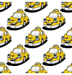 Cartoon taxi character seamless pattern vector