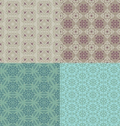 Set of four seamless patterns kazakh asian floral vector