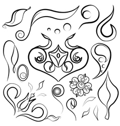 Set decor elements doodle vector
