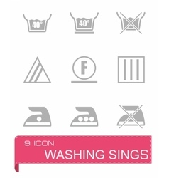 Washing signs icon set vector