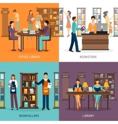 Library service 2x2 set vector
