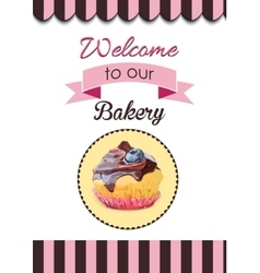 Cute party cupcake on delicate striped vector