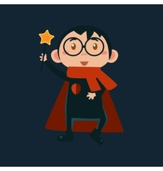 Boy in harry potter haloween disguise vector