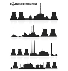 Nuclear power plants silhouettes vector
