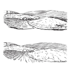 Hand drawn landscape of village and field vector