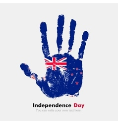 Handprint with the new zealand flag in grunge vector