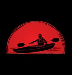 A man kayaking kayak boat kayaker graphic vect vector