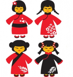 Asian dolls vector image