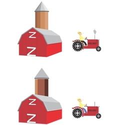 barn tractor vector image vector image