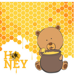 bright postcard with a bear and honey vector image vector image