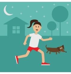 Cartoon running girl Dachshund dog Cute run woman vector image
