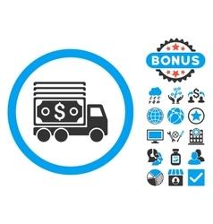 Cash lorry flat icon with bonus vector