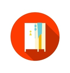 Cloakroom on the beach flat icon with long shadow vector