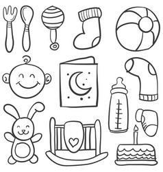 Collection of baby element doodles vector