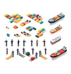 Collection of port warehouse isometric icons vector
