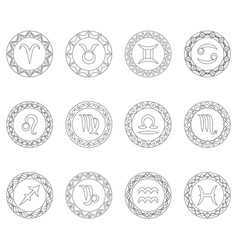 complete set twelve signs of zodiac symbols vector image