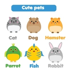 Cute pets set in children style vector image vector image