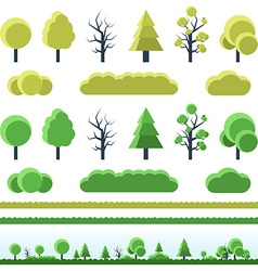 Different trees collection isolated vector image vector image