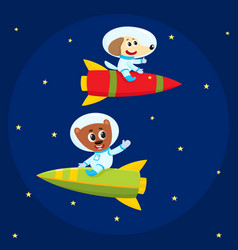 Dog and bear astronauts spacemen riding rockets vector
