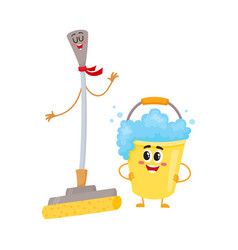 funny sponge mop and soap foam bucket characters vector image vector image