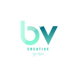 green gradient pastel modern bv b v alphabet vector image